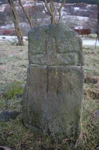 An early cross-carved slab at Ardtaraig, broken and repaired.