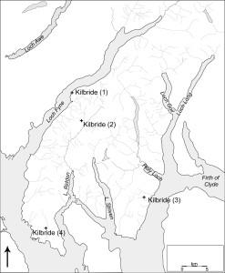 Cowal map with Brigit dedications
