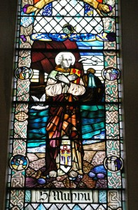St Munnu or Fintan appears in a window at Kilmun Church.