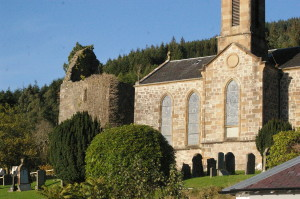 The fifteenth-century tower of the Collegiate Church stands beside the nineteenth-century parish kirk.