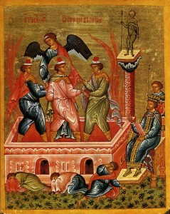 The Three Holy Youths in the furnace, watched by the king, protected by an angel. Novgorod  School, 15th century (image from Wikipedia, Public Domain)