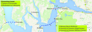Ferries to Cowal: blue for CalMac; red for Argyll Ferries; green for Western Ferries.