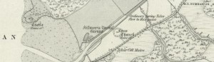 The first edition of the Ordnance Survey map shows the proximity of Castle and Church (image courtesy of National Library of Scotland)