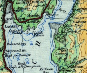 Kilfinan (in south-east) and Kilmory (in north-west) on OS quarter inch map 1920s (image courtesy of the National Library of Scotland).