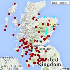 St Brigit in Scottish place-names: certain (dark red), probable (orange), possible (pale blue) and doubtful (yellow) [www.saintsplaces.gla.ac.uk]
