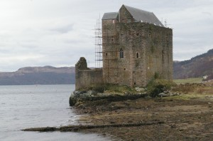 Carrick Castle stands as a brooding presence on the shore of Loch Goil.