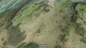 Fearnoch Chapel in its enclosure from above (image courtesy of Google Earth/Getmapping.plc)