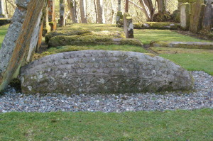 A 'hogback' stone at Luss kirkyard indicates the northward reach of a British-Norse hybrid culture in the Strathclyde kingdom in about the eleventh century.