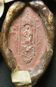 Seal of Archibald Cambpell, Provost of Kilmun in 1579 (National Records of Scotland,  GD112/51/39/8). This is the earliest known representation of St Munnu.