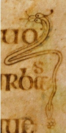 A snake appears in the margins of the Book of Kells (circa AD 800), where it may represent Christ.