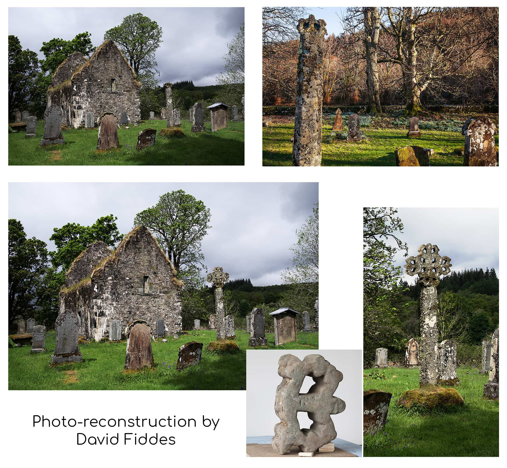 Photos showing the remaining octagonal shaft, separate fragment of the cross head, and a photo-reconstruction.
