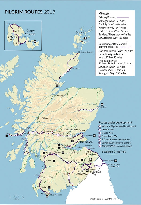 Map of established and proposed pilgrim trails in Scotland.